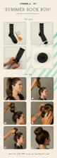 I have yet to try this but I'm going to and I hope it works! It is a fast and easy way to not have to worry about doing your hair in the morning before work, and it looks fab!: Hairstyles, Hair Styles, Hair Bun, Sockbun, Hair Tutorial, Socks, Sock Bun