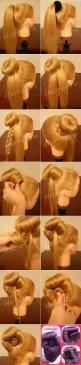 oh my goodness!!! Bun bow!! How awesome is this!!!!: Easy Bun Hairstyle, Hair Styles, Hair Bun, Cute Bun, Sock Bun, Girls Bun, High Bun