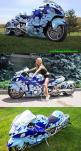 Three wheel custom Suzuki Hayabusa - choice of name was made because the peregrine falcon preys on blackbirds,[8] which reflected the intent of the original Hayabusa to unseat the Honda CBR1100XX Super Blackbird as the world's fastest production motor