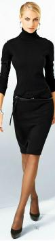 Chic Professional Woman Work Outfit. .: Office, Black Dress Outfit, Fashion, Classy Black Dress, Black Dresses, All Black, Black Turtleneck Dress, Black Turtleneck Outfit
