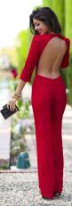 See more fashion ideas on http://pinmakeuptips.com/schoolwear-solutions-for-young-fashionlistas/: Cocktail Jumpsuit, Street Style, Red Backless, Sexy Cocktail Dress, Red Outfit