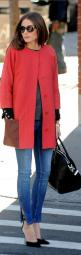 Olivia Palermo. Neutral palette in her clothes, shoes, and handbag, but the FUN and COLOR happens with the jacket. love. Notice the play on sleeve length. I love that sort of peak-a-boo effect.