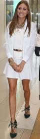 Who made Olivia Palermo's white flare skirt, gold belt, net top, white mesh jacket, and green suede lace up pumps that she wore in Melbourne?